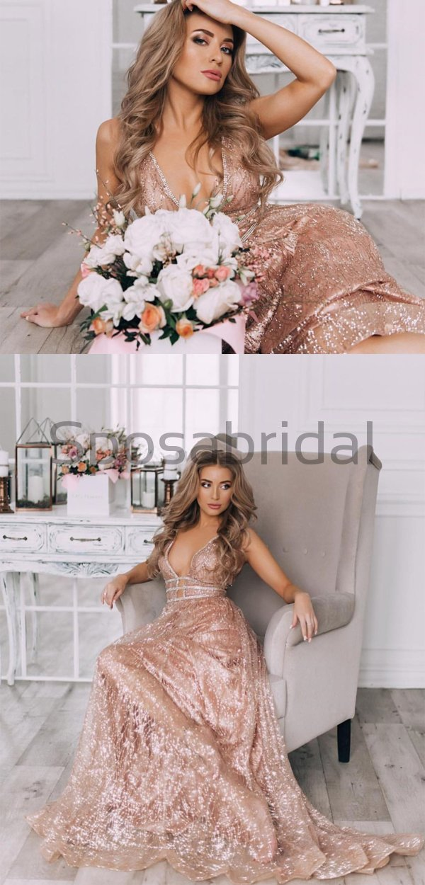Charming Sparkly Sequin A-line V-Neck Fashion Formal Prom Dresses PD1564