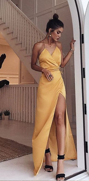 Charming V Neck Spaghetti Straps Yellow Elastic Satin Long Prom Dresses with Side Split, PD0993