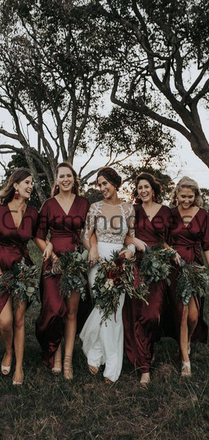 Cheap Burgundy V-Neck Short Sleeves Popular Bridesmaid Dresses WG684