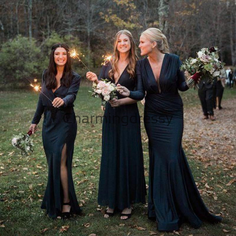 Cheap Long Sleeves V-Neck Hot Mermaid Bridesmaid Dresses WG712