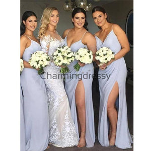 Cheap Long Spaghetti Straps Simple Soft Bridesmaid Dresses WG686
