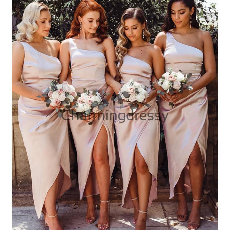 Cheap One Shoulder Simple Unique Short Bridesmaid Dresses WG691