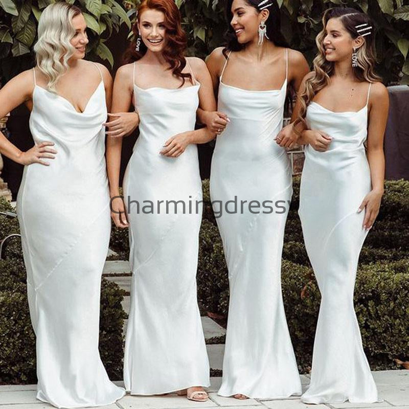 Cheap Popular Spaghetti Straps Long Simple Bridesmaid Dresses WG693