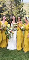 Cheap Yellow Chiffon Long V-Neck A-line Bridesmaid Dresses WG699