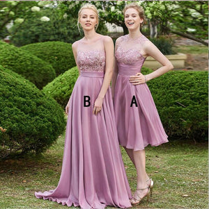 Cheap Chiffon Unique Discount Round Neck Long and Short Lilac Top Lace Appliques Bridesmaid Dresses , WG266