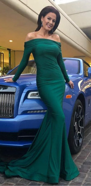 Cheap Green Off Shoulder Long Sleeve Mermaid Modest Elegant Popular Prom Dresses, PD1227