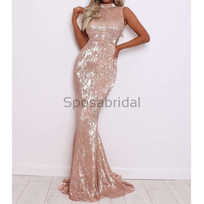 Cheap High Neck Long Mermaid Sparkly Sequin Formal Elegant Prom Dresses, evening dresses PD1565