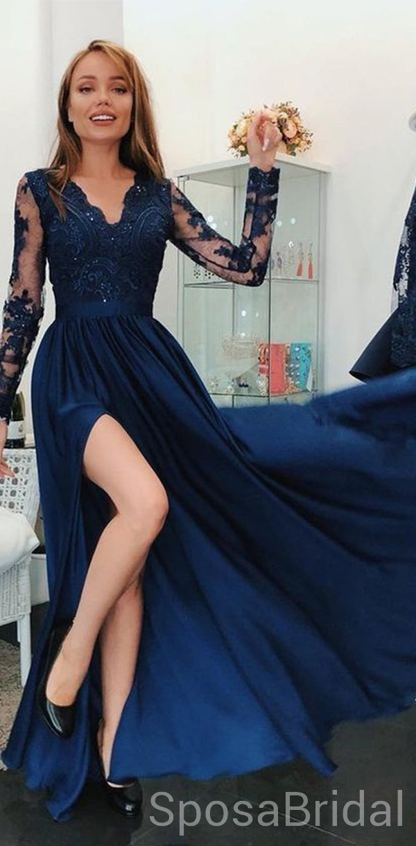 Cheap Long Sleeves Navy Blue Side Slit Modest V Neck Elegant Prom Dresses, Evening Dresses, PD1273