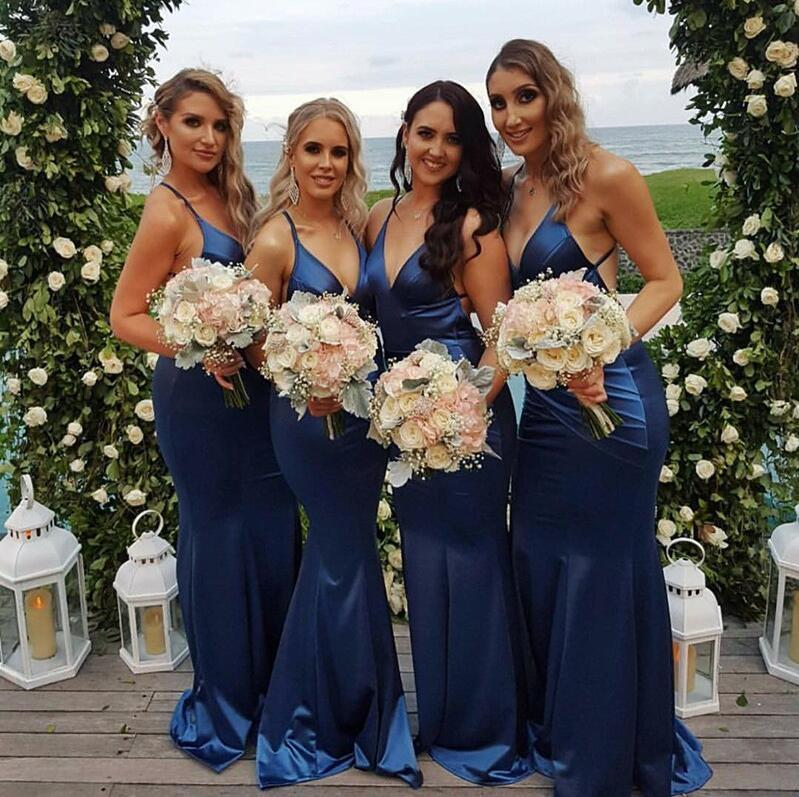 Cheap Modest Sexy Unique Backless Simple Most Popular Custom Soft Sexy Mermaid Spaghetti Straps Long Dark Blue Bridesmaid Dresses , WG267