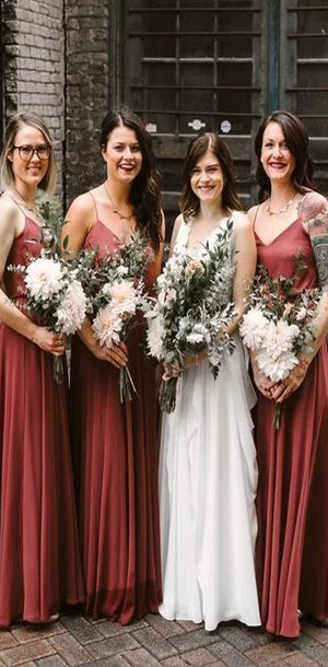 Cheap New  Arrival Spaghetti Straps V-Neck Floor-Length Simple  Bridesmaid Dresses,WG397