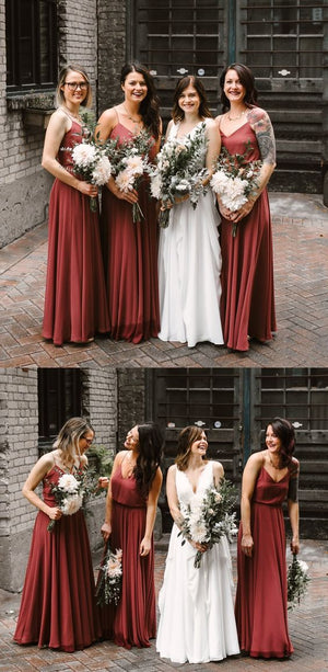 Cheap New  Arrival Spaghetti Straps V-Neck Floor-Length Simple  Bridesmaid Dresses,WG397 - SposaBridal