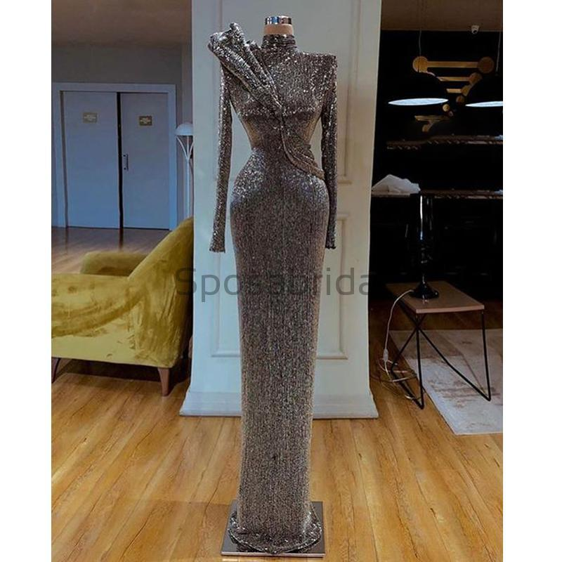 Cheap Sparkly Gray Sequin Long Sleeves High Neck Mermaid Modest Fashion Prom Dresses PD1568
