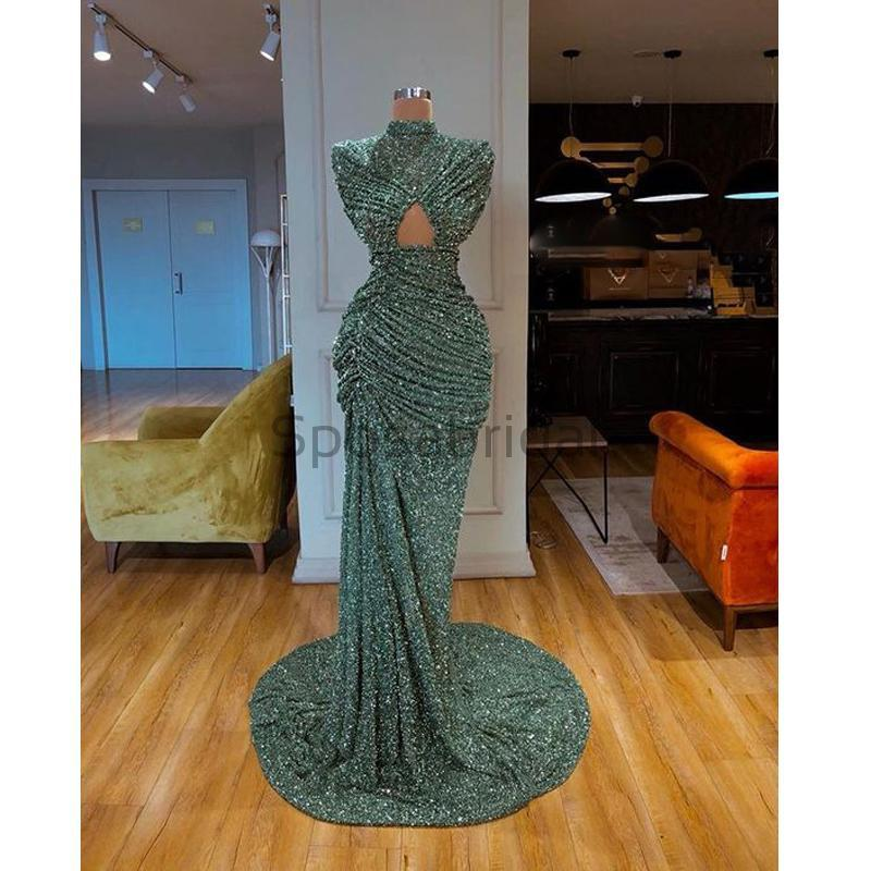 Cheap Newest Sparkly High Neck Green Sequin Unique Mermaid Modest Fashion Prom Dresses PD1569