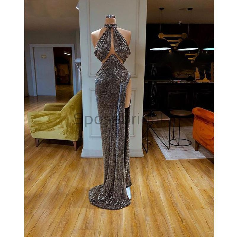 Cheap Newest Sparkly High Neck Mermaid Gray Sequin High Slit Long Prom Dresses PD1570