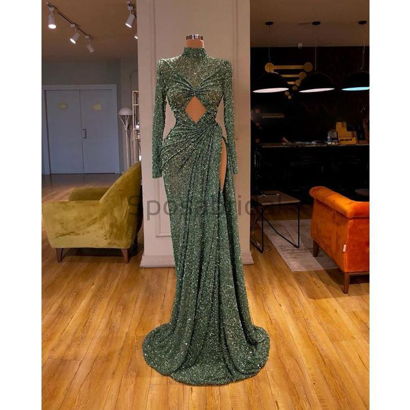 Cheap Newest Sparkly Long Sleeves Green Sequin Mermaid Modest Fashion Long Prom Dresses PD1571