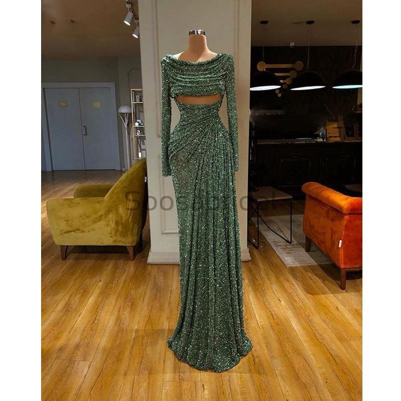 Cheap Newest Sparkly Long Sleeves Green Sequin Unique Mermaid Modest Fashion Prom Dresses PD1572