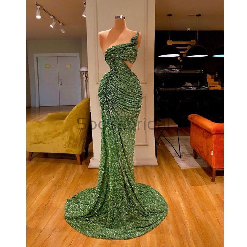 Cheap Newest Sparkly One Shoulder Green Sequin Unique Mermaid Modest Fashion Long Prom Dresses PD1573