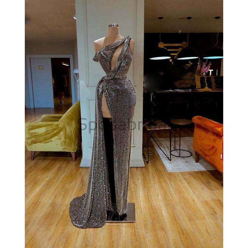 Cheap Newest Sparkly One Shoulder Mermaid Gray Sequin High Slit Modest Long Prom Dresses PD1574
