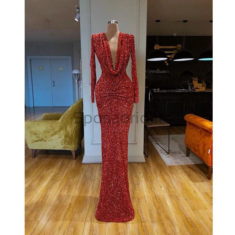 Cheap Newest Sparkly Red Sequin Long Sleeves Deep V-Neck Mermaid Modest Long Prom Dresses PD1575