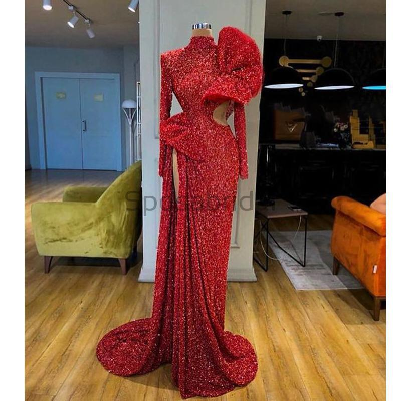 Cheap Newest Sparkly Red Sequin Long Sleeves High Neck Mermaid Modest Fashion Prom Dresses PD1576