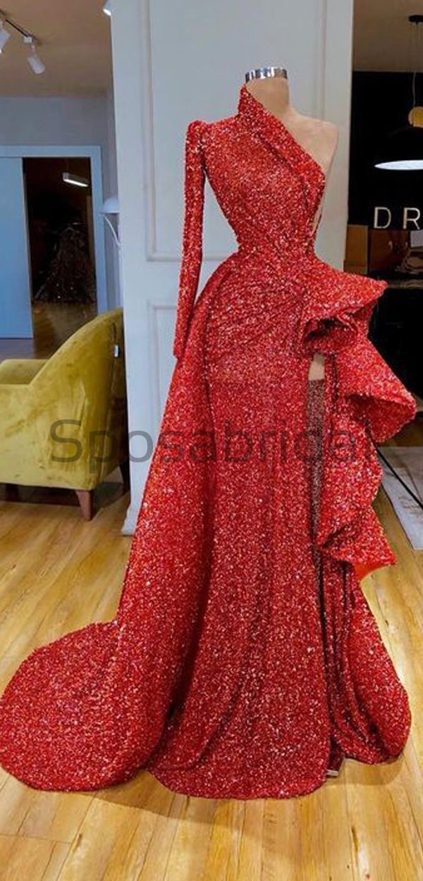 Cheap Newest Sparkly Red Sequin One Shoulder High Neck Mermaid Modest Fashion Long Prom Dresses PD1578