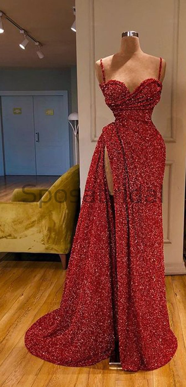 Cheap Newest Sparkly Red Sequin Spaghetti Srtaps Mermaid Modest Fashion Long Prom Dresses PD1580