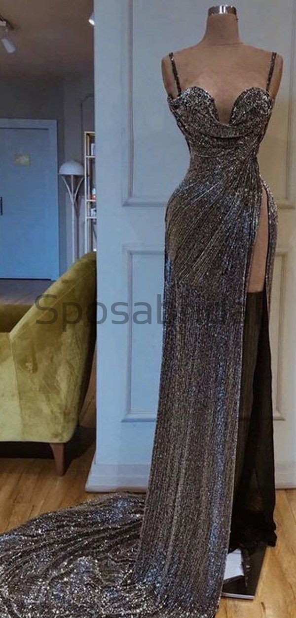 Cheap Newest Sparkly Spaghetti Straps Gray Sequin High Slit Long Prom Dresses PD1583