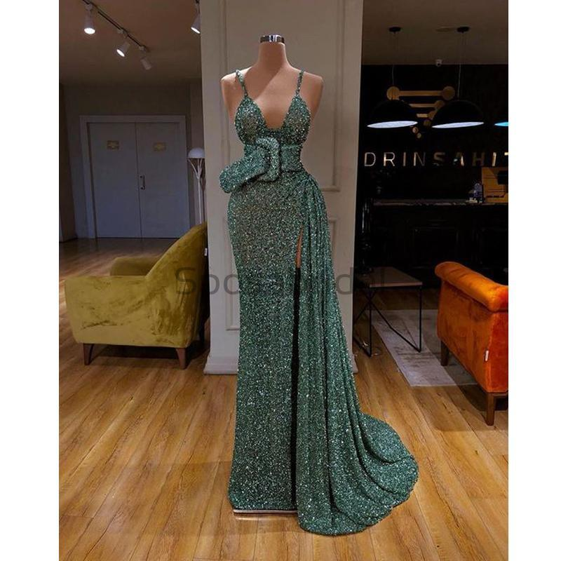 Cheap Newest Sparkly Spaghetti Straps Green Sequin Mermaid Modest Fashion Long Prom Dresses PD1584
