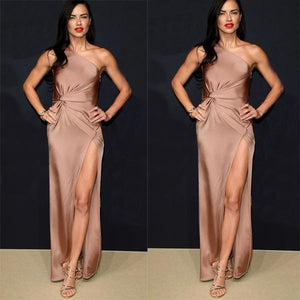 Cheap One Shoulder Side Split Sexy Soft Smple Custom Fashion Prom Dresses, PD0994