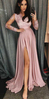 Cheap Pink Long Sleeves Side Split Prom Dresses, Modest Popular evening dresses, PD0921 - SposaBridal