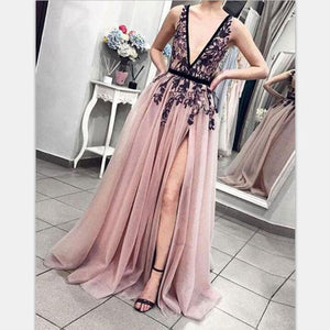 Cheap Pink V-Neck Tulle Lace Long Prom Dresses, Charming tulle evening dress, PD0963
