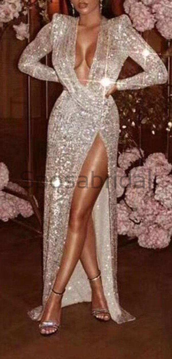 Cheap Sequin Sparkly Long Sleeves Mermaid High Slit Long Prom Dresses,evening dresses PD1586