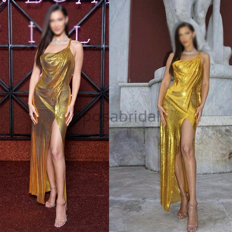 Cheap Sequin Sparkly Side Slit Gold Long Modest Prom Dresses PD1587