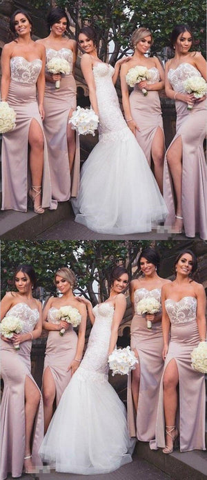 Cheap Sheath Sweetheart Floor-Length Split Blush Bridesmaid Dresses with Lace, WG396 - SposaBridal