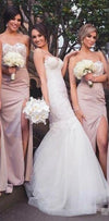 Cheap Sheath Sweetheart Floor-Length Split Blush Bridesmaid Dresses with Lace, WG396