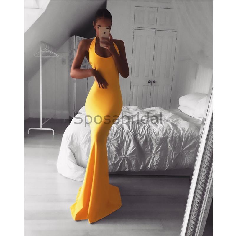 Cheap Sleeveless Simple Sexy Elegant Formal Yellow Long Prom Dresses PD1588