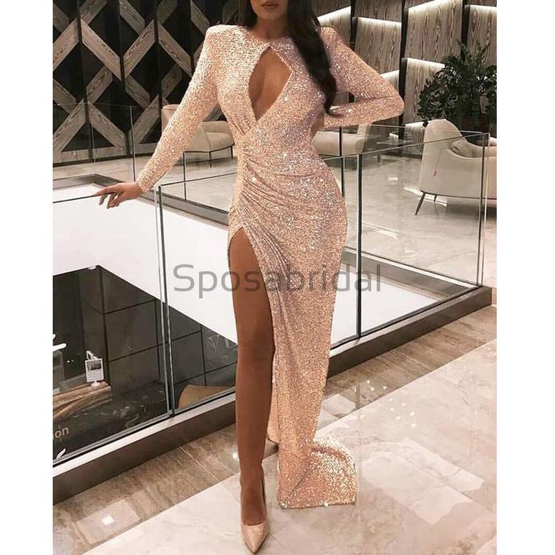 Cheap Sparkly Sequin Long Sleeves Unique Design Side Slit Long Modest Prom Dresses PD1589