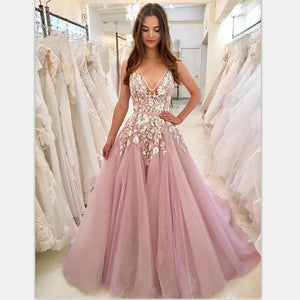 Cheap V Neck A-line Lace Pink Long Evening Prom Dresses, Cheap Custom Sweet 16 Dresses, PD0935