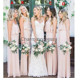 Chiffon Cheap Mismatched Pink Long Bridesmaid Dresses WG699