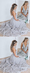Chiffon Unique Gray  V-neck Modest Prom dresses for girls party, evening dress, PD0888