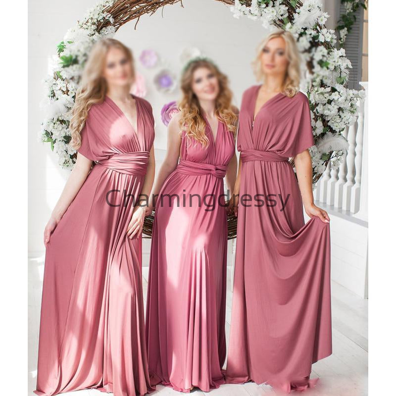 Convertible Rose Jersey Cheap Long Bridesmaid Dresses WG713