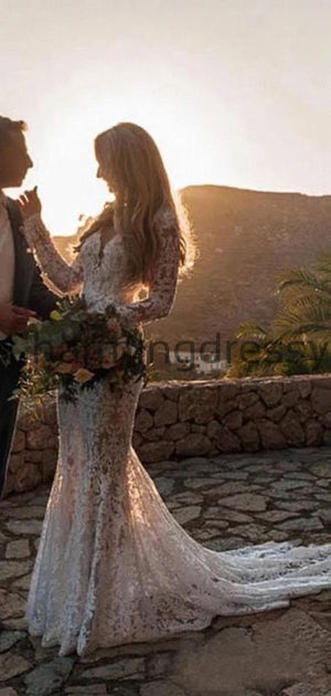 Country Full Lace Mermaid Long Sleeves Open Back Modest Wedding Dresses WD0447