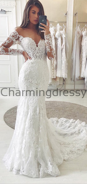 Country Lace Mermaid Long Sleeves Elegant Wedding Dresses WD0448