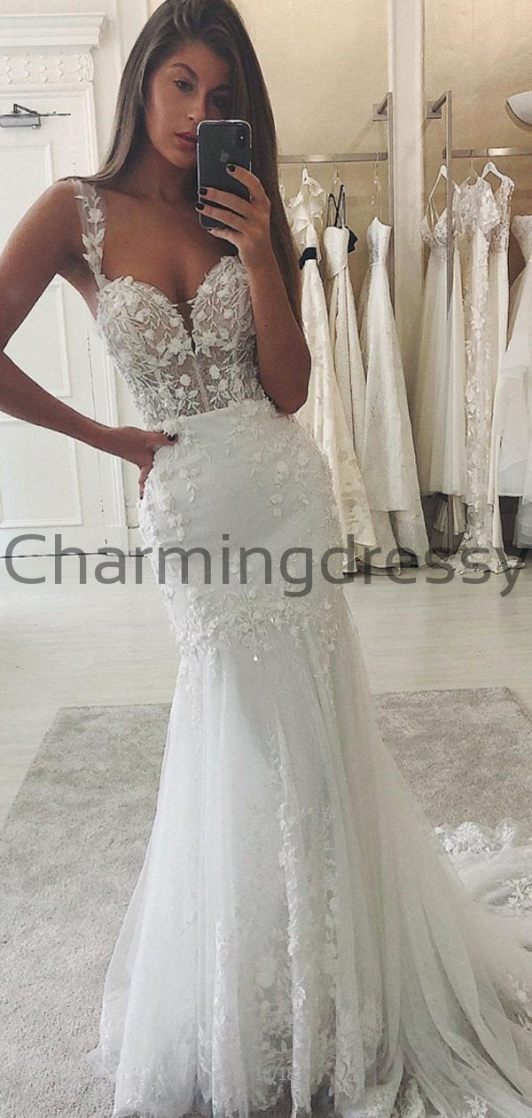 Country Lace Mermaid Modest Popular Elegant Wedding Dresses WD0449