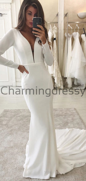 Country Satin Long Sleeves Elegant Wedding Dresses, Modest Prom Dresses WD0450