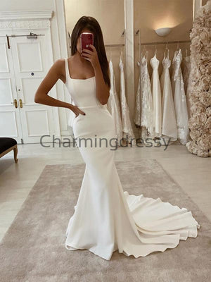 Country Satin Simple Elegant Wedding Dresses, Modest Prom Dresses WD0451