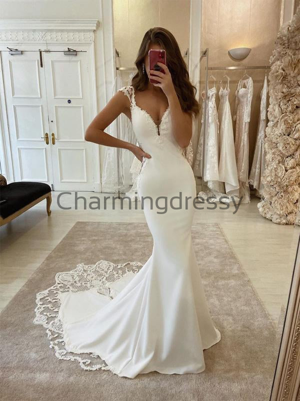 Country Vintage Mermaid Satin Elegant  Wedding Dresses, Prom Dresses WD0453