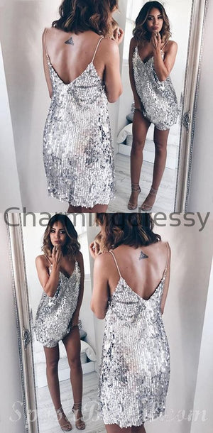 Custom Elegant Sparkly Spaghetti Straps Sequin Silver Simple  Homecomg Dresses, Short Sexy Prom Dress,BD0410