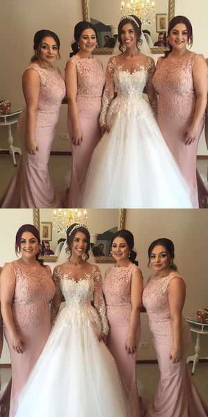 Custom Strapless Long Blush Pink Mermaid Top Lace Bridesmaid Dresses, Wedding Guest Dresses, WG251