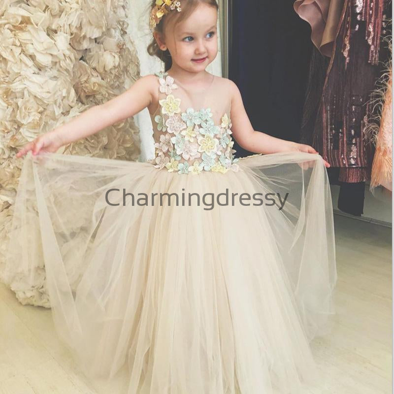 Cute Tulle Flower Round Neck Popular Flower Girl Dresses, FG134